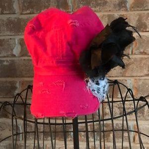 Hot Pink Baseball Cap Black Floral Accents Kbethos